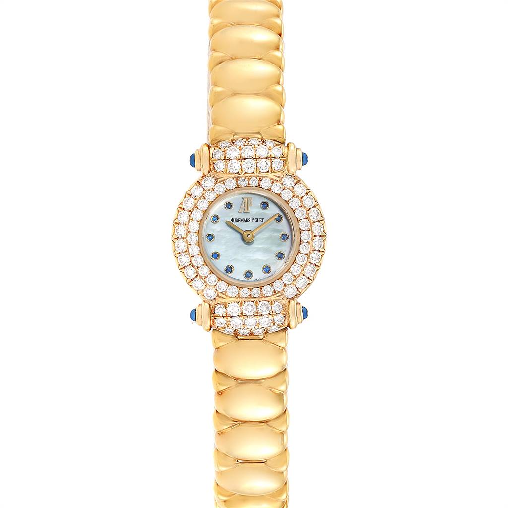Audemars Piguet Yellow Gold MOP Diamond Sapphire Ladies Watch SwissWatchExpo