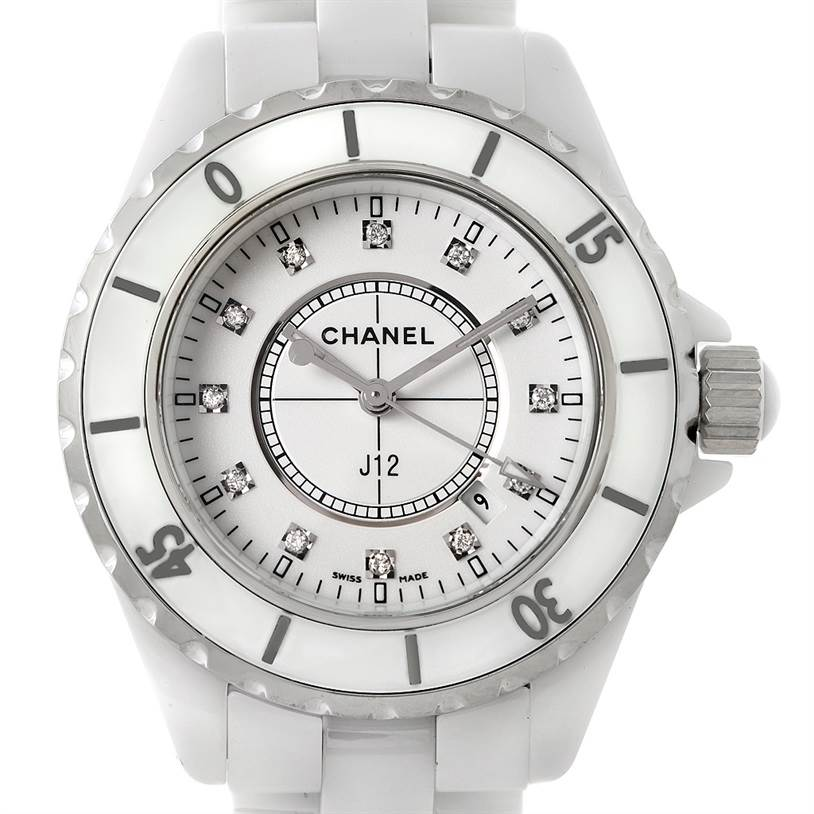 Chanel J12 White Ceramic Diamonds Quartz Ladies Watch H2422